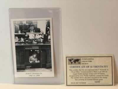 JOHN F. KENNEDY Jr. STAMP PLATE BLOCK- called Oval Office is a limited edition print with COA and in MINT condition.