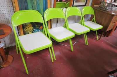 Vintage MCM set of 4 Chartreuse folding chairs