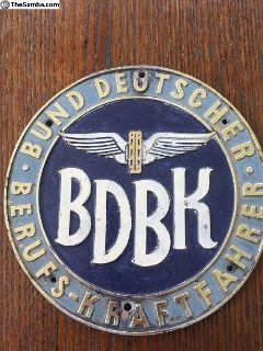 Large German BDBK Garage Badge - Vintage Emblem