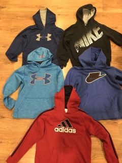 Name brand hoodies, size (sm) 10/12. They are in excellent condition, from a pet free, smoke free home.