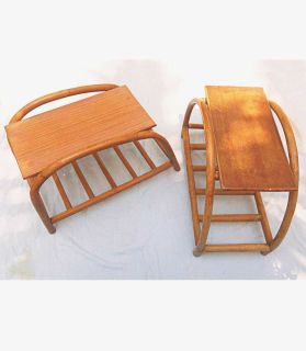 Rattan Side Tables Pretzel Pair Mid Century Modern