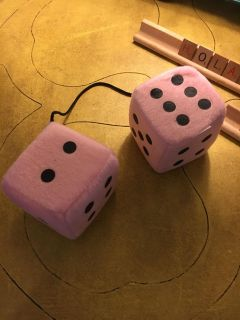 Large pink fuzzy dice for car
