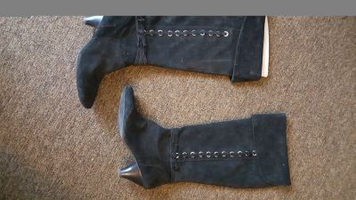 Suede Boots with Silver Metal Trim, low heels