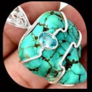 New - Tibetan Turquoise and Blue Topaz 925 Sterling Silver Wire Wrap 925 Sterling Silver Pendant