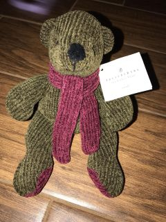 Pottery Barn Nicholas Bear Plush With Red Scarf Stuffed Animal