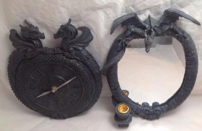 Sculptural Dragon Gothic Wall Clock Two Headed Monster with Mirror (TWO PIECES)