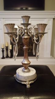 Gorgeous Heavy White Marble and Silver Toned Candelabra with 4 Glass Prisms!