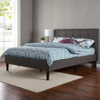Zinus Upholstered Square Stitched Platform Bed New No Box Queen Size
