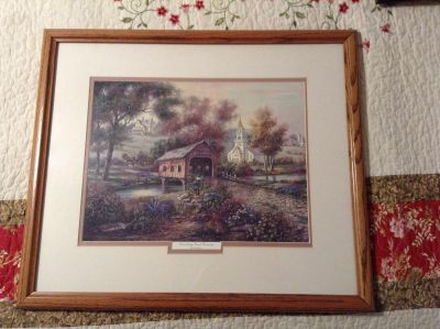 """Razzberry Creek Crossing"" matted print in custom hand made frame $30"