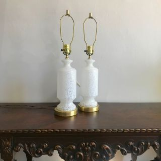 Italian White Murano Glass Table Lamps Pair