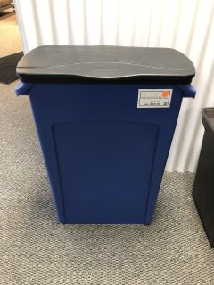 CLEARANCE ITEM!! Rubbermaid Vented Recycling Slim Jim Container in Blue, 23 Gallon-NEW