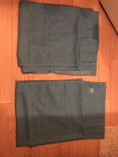 Two blue curtain panels. New