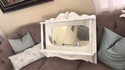 Shabby Chic French Provincial heavy wood over buffet shelf with mirror