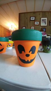 "Handpainted Pumpkin Plant Pot - 3.75"" tall - Fill with wrapped candies for a sweet treat!"