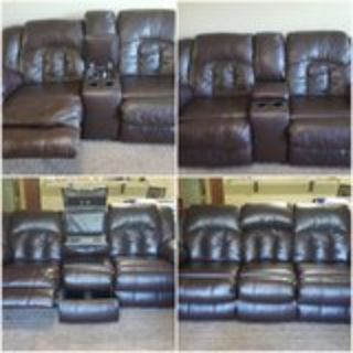 LEATHER RECLINABLE COUCH & LOVE SEAT