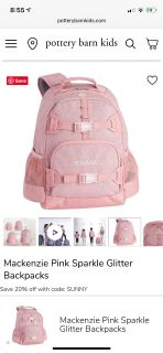 NWT pottery Barn Kids pink glitter backpack