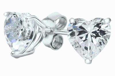 ***REDUCED***BRAND NEW***Heart-Cut Studs Made with Swarovski Elements***3 1/2 CTTW