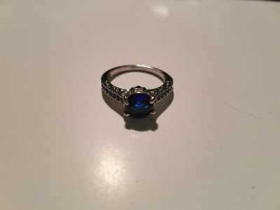 Blue Sapphire Sterling Silver Ring - Size 8