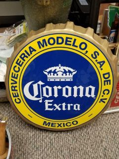 CORONA EXTRA BEER BOTTLE CAP SHAPED METAL/TIN SIGN FOR BAR OR MAN CAVE