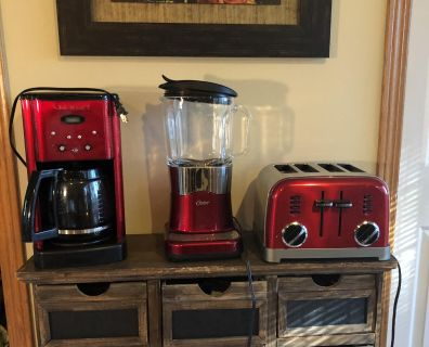 Red/stainless steel colored small appliances. Cuisinart toaster and coffeemaker, Oster blender. All 3 work and look nice but 2 have flaws