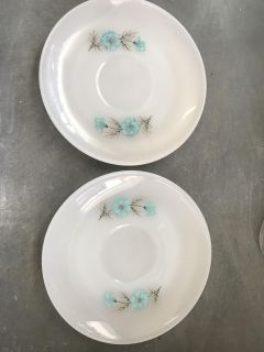 2 Fireking saucers. Great as cat food dishes