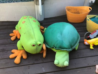 Stuffed Frog and turtle pool toys