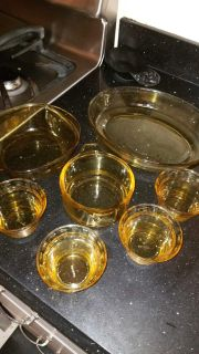 Pyr-O-Rey Dynaware Amber Glass Casserole Baking Dishes Vintage Mexico