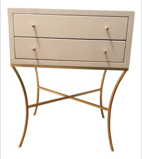 Worlds Away Elena Side Table, White & Gold Leaf