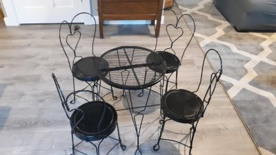 Antique child's ice cream table and chairs