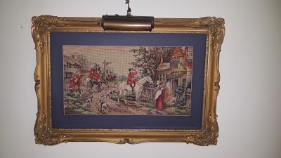 "Beautiful large vintage 34"" by 24"" needlepoint in ornate wooden frame"