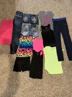 Girls size 12 shorts jeans shirts