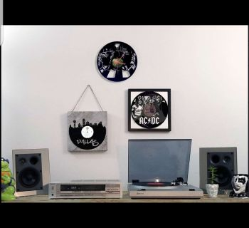 Turntable, speakers, receiver, records and art!