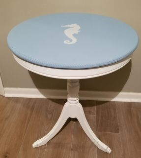 Vintage drum table freshly painted and stenciled. 28 h 24w