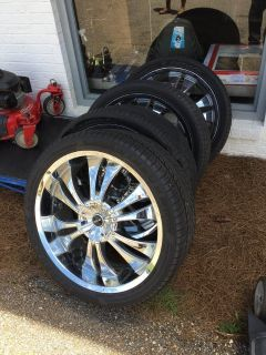 4 Rims 6 lugs 24 and 3 tires.