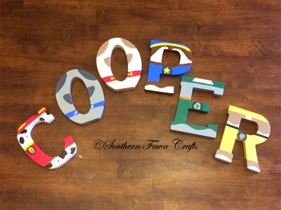 Paw patrol and puppy dog pals 5 painted letters by Southern Fawn crafts