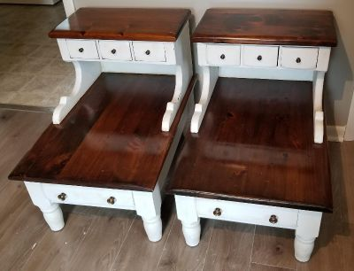 Vintage step end tables freshly painted. 25H x 20W x 29D