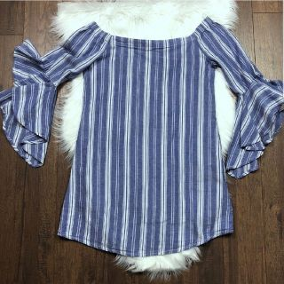 NWT Blue Stripped Off Shoulder Bell Sleeve