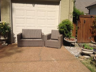 Outdoor wicker chair and love seat