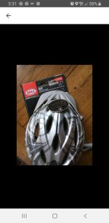 Bell bike helmet. Just purchased on here. Did not work for my child. He prob needs a men's size. Anyhoo...smoke free home.