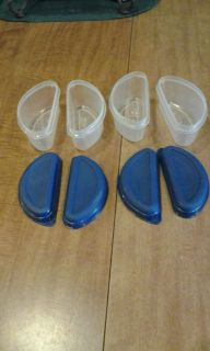 Containers with lids, hold 8 oz each, 4 in lot, great for lunches