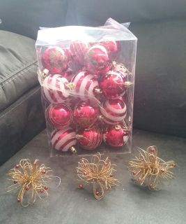 Red and Silver Christmas Bulbs Total 22 and 3 decorative ornaments