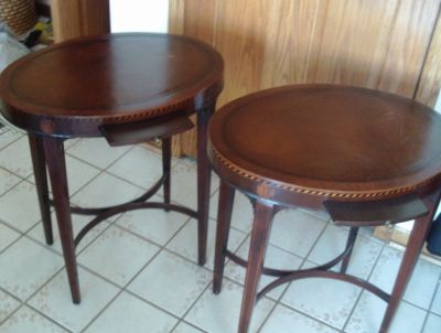 Pair of 1930's Sheraton Marquetry End Tables