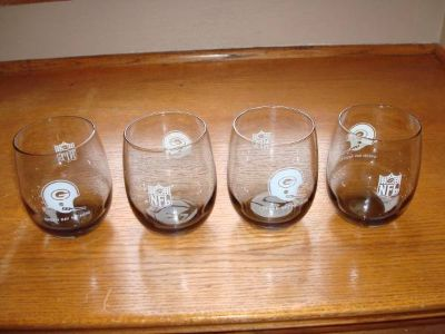 1970's GREEN BAY PACKERS Smoked Glasses - Qty 4 - LARGE Version - L@@K