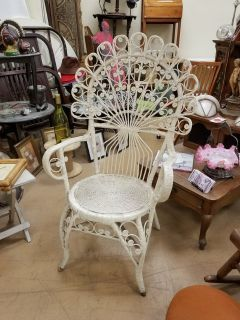 Rare Awesome White Fan Back Peacock Wicker chair