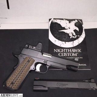 For Sale: (NIB) Nighthawk Custom 1911 Costa Recon 45ACP With Additional Slide Cut For Trijicon RMR
