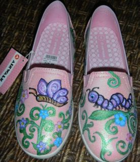NEW Girls Pink Shimmery Painted Butterfly Shoes Sz 4