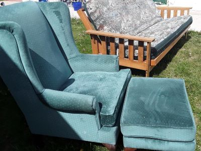 Queen Anne Style Chair with Matching Ottoman