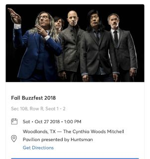 Buzz fest - Oct 27,2018 - 2 reserved seats