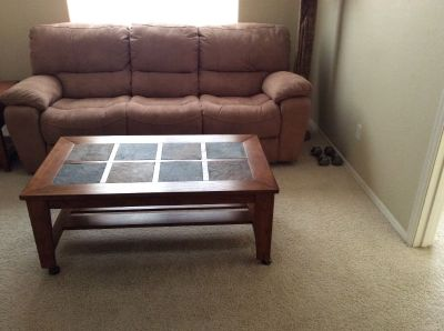 Recliner Sofa / coffee table on wheels