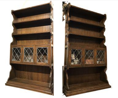Ethan Allen Vintage Oak Cabinet Hutch - Set of 2